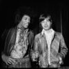 "May 4, 1967, London - Jimi Hendrix and Mick Jagger meet for the first time at BBC studios on the set of ""Top of the Pops."" © Alec Byrne"