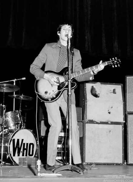 Jan. 29, 1967, London - Keith Moon and Pete Townshend of the Who perform during soundcheck at the Saville Theatre. © Alec Byrne