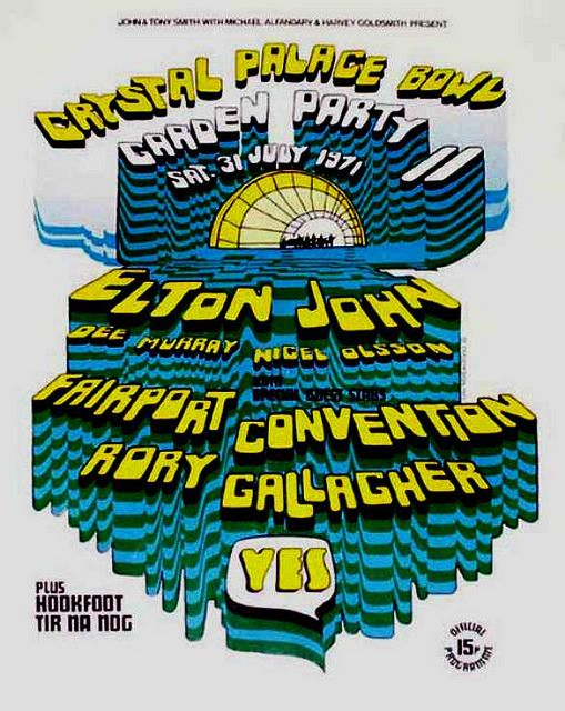 Crystal Palace Bowl Garden Party Concert July 1971 Poster - Elton John, Yes, Fairport Convention Rory Gallagher
