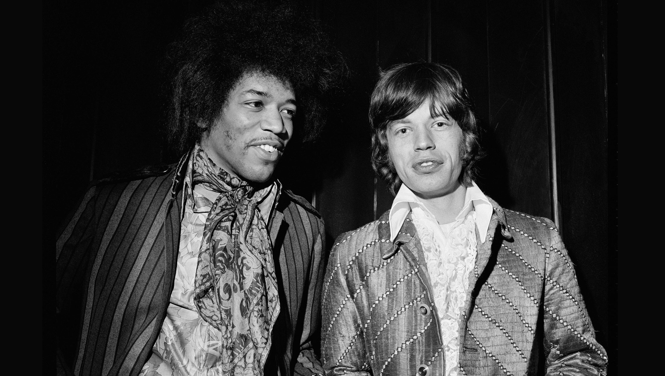 Mick Jagger and Jimi Hendrix. © Alec Byrne