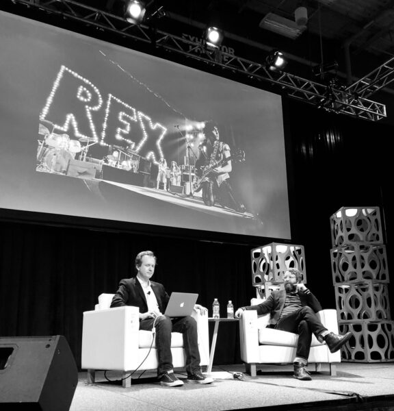 "Drew Evans and Steven Walker discuss RPM during the ""Why the World Needs a Rock Photography Museum"" presentation at SXSW in 2019. Photo: William Philpott"